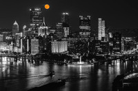 A full moon shines bright over Pittsburgh - Selective Color