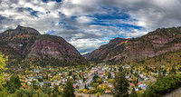 Panorama of Ouray, Colorado on a beautiful fall afternoon