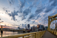 Sunrise and the Roberto Clemente Bridge in Pittsburgh