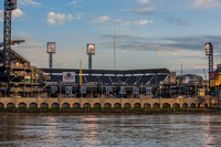 The first light of day hits PNC Park in Pittsburgh on Opening Day