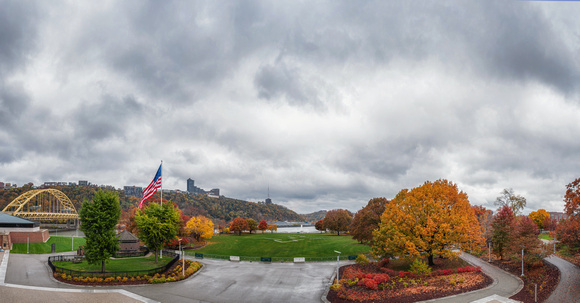 Panorama of a fall day at Point State Park in Pittsburgh