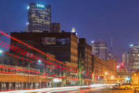Light trails leading into downtown Pittsburgh from the Strip District