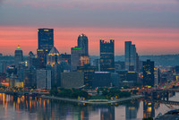 A red sky over Pittsburgh as seen from the West End Overlook