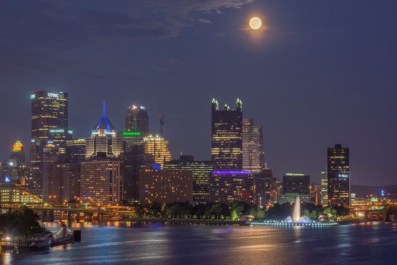 A view of the Supermoon over Pittsburgh and the West End Bridge