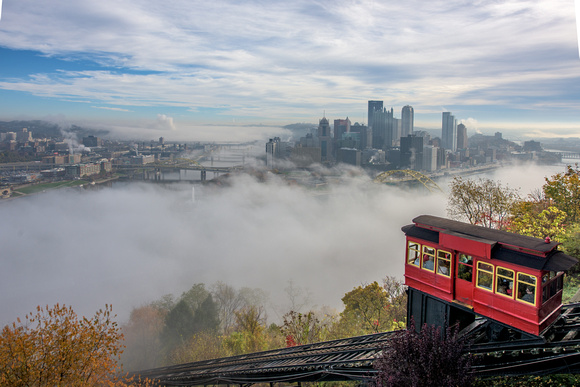 Incline on a foggy morning in pittsburgh