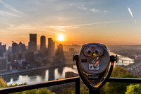 A viewfinder shines in the early morning light in Pittsburgh