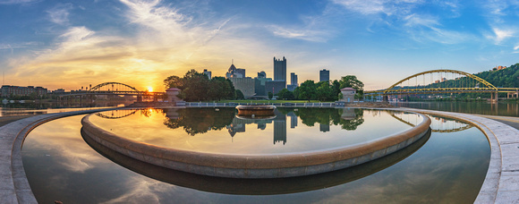 Panorama of sunrise reflecting in the Point in Pittsburgh