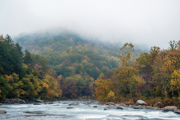 Looking down the Youghiogheny River on a foggy morning at Ohiopyle State Park HDR
